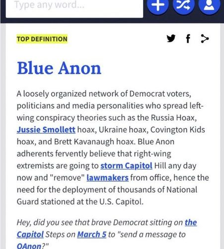 Conservatives snicker as Urban Dictionary censors term 'BLUE ANON,' the hot new label for left-wing conspiracy theorists