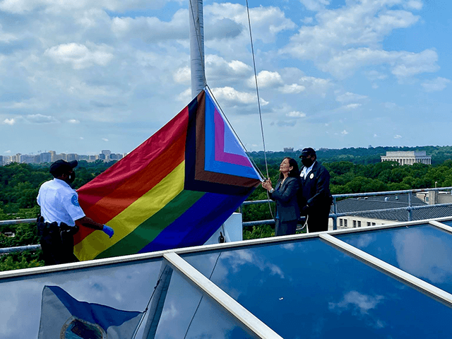 Instead of flying American  Flag on Flag Day, Interior Department Flies Rainbow 'Progress Pride' Flag