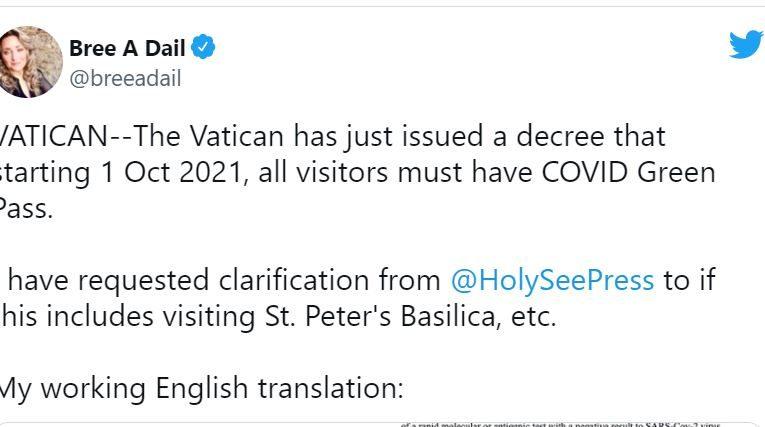 Vatican City To Require Vax Passport
