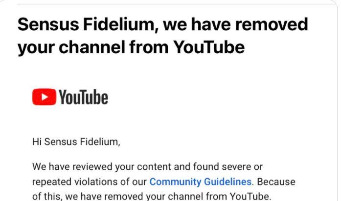 Youtube Deletes Traditional Catholic Channel
